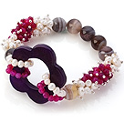 New Design Cluster White Pearl Round Rose Persia And Hollow Purple Agate Flower Link Connection Elastic Bracelet