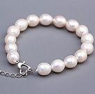 Lovely 9-10mm White Rice Shape Freshwater Pearl Beaded Bracelet With Heart Clasp