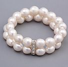 Fashion Double Strands 9-10mm White Rice Shape Freshwater Pearl Beaded Stretch Bracelet
