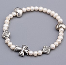 Lovely Soft 4-5mm White Freshwater Pearl Beaded Bracelet With Tibet Silver Heart Cross Charms