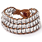 Pretty Hand-Knotted Multilayer Round Clear Crystal Brown Leather Wrap Bracelet With Red Agate Clasp