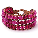 Pretty Hand-Knotted Multilayer 6mm Round Rose Agate Brown Leather Wrap Bracelet