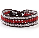 Fashion 4mm håndknyttet Multilayer Round Red Coral Og Sølv perler Reddish Brown Leather Wrap Bracelet