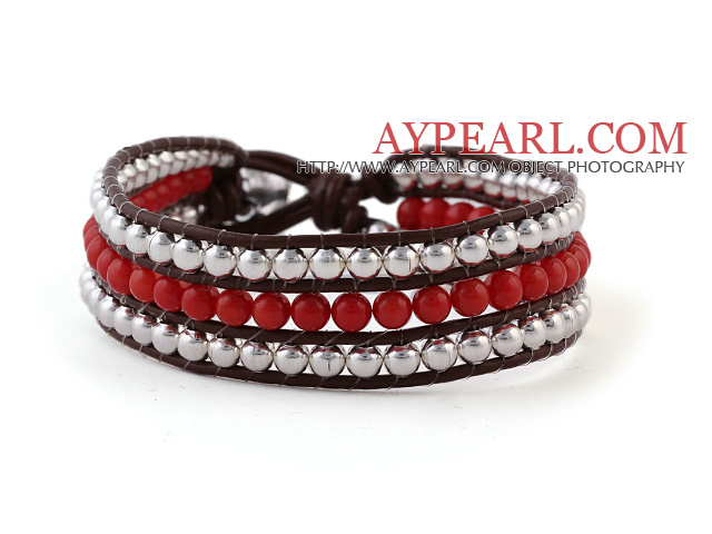Fashion 4mm Hand-Knotted Multilayer Round Red Coral And Silver Beads Reddish Brown Leather Wrap Bracelet