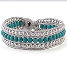 Fashion 4mm Hand-Knotted Multilayer Round Blue Turquoise And Silver Beads Leather Wrap Bracelet