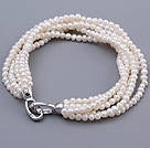 Classic Multi Strands 3-3.5mm Natural Rare Mini White Freshwater Pearl Beaded Bracelet