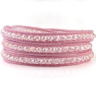 Fashion 4mm Multilayer Manmade White Colorful Crystal Pink Leather Wrap Bracelet