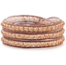Fashion 4mm Multilayer Manmade Champagne Crystal And Brown Leather Wrap Bracelet