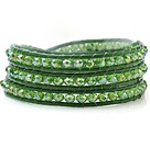 Fashion Grön serien Multilayer 4mm Konstgjort Crystal och handknuten Leather Wrap Bracelet