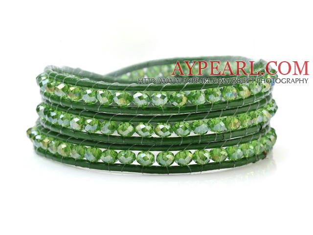 Fashion Green Series Multilayer 4mm Manmade Crystal And Hand-Knotted Leather Wrap Bracelet