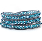 Fashion Multilayer 4mm Lake Blue Menneskeskapt krystall og håndknyttet Leather Wrap Bracelet