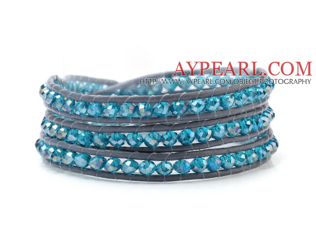 Fashion Multilayer 4mm Lake Blue Manmade Crystal And Hand-Knotted Leather Wrap Bracelet