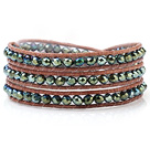 Fashion Multilayer 4mm Lake Blue Menneskeskapt krystall og håndknyttet Brown Leather Wrap Bracelet
