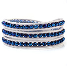 Popular Multilayer 4mm Blue Manmade Crystal And Hand-Knotted White Leather Wrap Bracelet