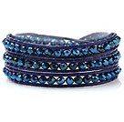 Populære Multilayer 4mm Blue Series Menneskeskapt krystall og håndknyttet Leather Wrap Bracelet