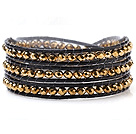 Popular Multilayer 4mm Manmade Golden Crystal And Hand-Knotted Leather Wrap Bracelet