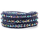 Popular Multilayer 4mm Manmade Colorful Crystal And Hand-Knotted Blue Leather Wrap Bracelet