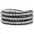 Wholesale Fashion Multilayer 4mm White Manmade Crystal And Hand-Knotted Black Leather Wrap Bracelet