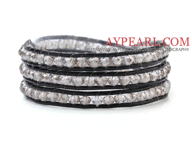Fashion Multilayer 4mm White Manmade Crystal And Hand-Knotted Black Leather Wrap Bracelet