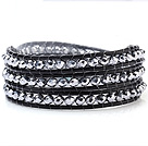 Fashion Multilayer 4mm Silver Color Manmade Crystal And Hand-Knotted Black Leather Wrap Bracelet
