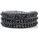 Fashion Multilayer 4mm Black Series Menneskeskapt krystall og håndknyttet Leather Wrap Bracelet