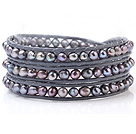 Popular Multilayer Multi Color Natural 5-6mm Freshwater Pearl And Hand-Knotted Gray Leather Wrap Bracelet
