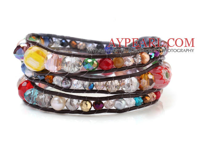 Popular Multilayer Multi Stone And Manmade Crystal Hand-Knotted Brown Leather Wrap Bracelet