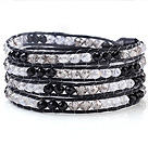 Multilayer Multi Color Manmade Crystal Hand-Knotted Black Wax Cord Wrap Bracelet