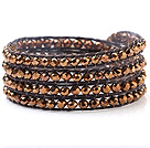 Fin multi 4mm Gold Menneskeskapt Crystal And håndknyttet Brown Wax Cord Wrap Bracelet