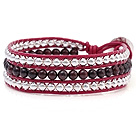 Fashion Multilayer 4mm Round Garnet And Silver Beads Hand-Knotted Red Leather Wrap Bracelet
