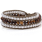Wholesale Fashion Multilayer 4mm Round Tiger Eye And Silver Beads Hand-Knotted Brown Leather Wrap Bracelet