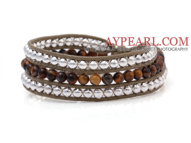 Fashion Multilayer 4mm Round Tiger Eye And Silver Beads Hand-Knotted Brown Leather Wrap Bracelet