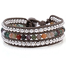 Fashion Multilayer 4mm Round Colorful Indian Agate And Silver Beads Hand-Knotted Brown Leather Wrap Bracelet