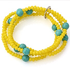 Fashion Multilayer Yellow Jade-Like Crystal And Round Green Turquoise Elastic Bracelet