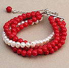 Fashion Multilayer Round Red Coral Og Natural White Ferskvann Pearl Bangle Bracelet