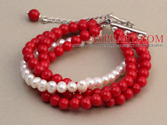 Fashion Multilayer Round Red Coral And Natural White Freshwater Pearl Bangle Bracelet