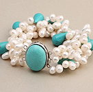 Fashion Multilayer White Freshwater Pearl And Tear Drop Blue Turquoise Wrap Bangle Bracelet
