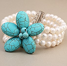 Wholesale Fashion Three-Row White Freshwater Pearl And Wired Blue Turquoise Flower Wrap Bracelet
