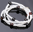 Wholesale Fashion Multi Strands White Jade-Like Crystal And Round Black Stone Stretch Bracelet