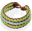 Popular Three-Layer 6mm Round Blue And Olive Color Jade Brown Leather Wrap Bracelet