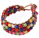 Popular Three-Layer 6mm Round Multi Colorful Turquoise Brown Leather Wrap Bracelet