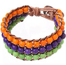 Popular Three-Layer 6mm Round Orange Purple And Green Turquoise Brown Leather Wrap Bracelet