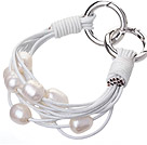 Fashion Multilayer 10-11mm Natural White Freshwater Pearl And White Leather Bracelet With Double-Ring Clasp