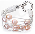 Fashion Multilayer 10-11mm Natural Pink Freshwater Pearl And White Leather Bracelet With Double-Ring Clasp