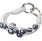 Fashion Multilayer 10-11mm Natural Black Freshwater Pearl And White Leather Bracelet With Double-Ring Clasp