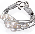 Fashion Multilayer 10-11mm Natural White Freshwater Pearl And Gray Leather Bracelet With Double-Ring Clasp