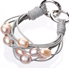 Fashion Multilayer 10-11mm Natural Pink Purple Freshwater Pearl And Gray Leather Bracelet With Double-Ring Clasp