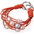 Fashion Multilayer 10-11mm Natural Pink Purple Freshwater Pearl And Orange Leather Bracelet With Double-Ring Clasp