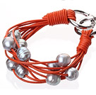 Fashion Multilayer 10-11mm Natural Gray Freshwater Pearl And Orange Leather Bracelet With Double-Ring Clasp