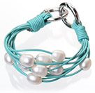 Fashion Multilayer 10-11mm Natural White Freshwater Pearl And Blue Leather Bracelet With Double-Ring Clasp